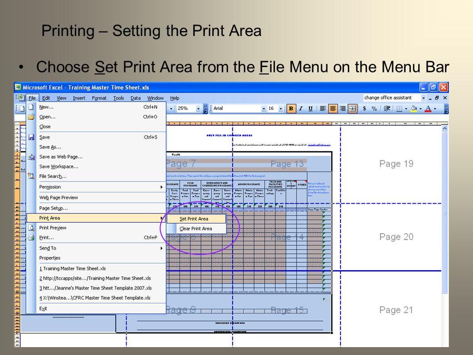 Printing – Setting the Print Area