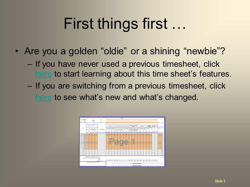 First things first … Are you a golden oldie or a shining newbie