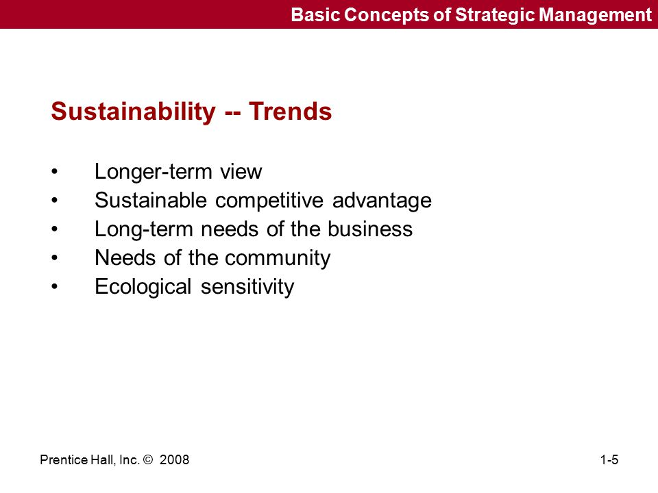 Sustainability -- Trends