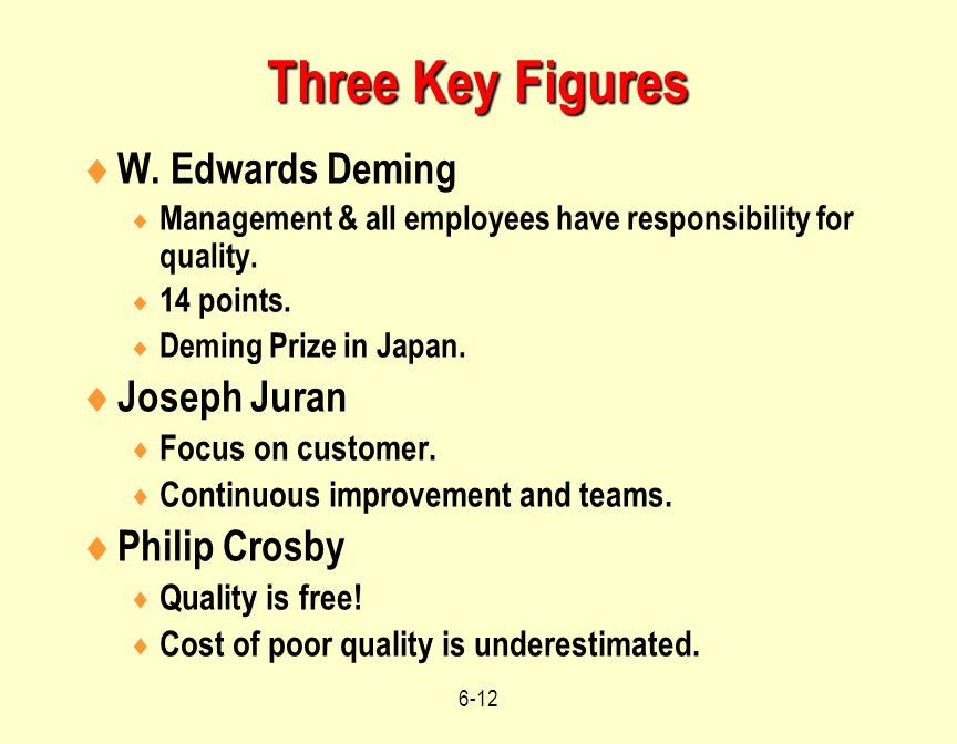 quality philosophies of deming juran and crosby Quality philosophies 2 deming  juran's quality trilogy  crosby's absolutes quality means conformance to requirements.