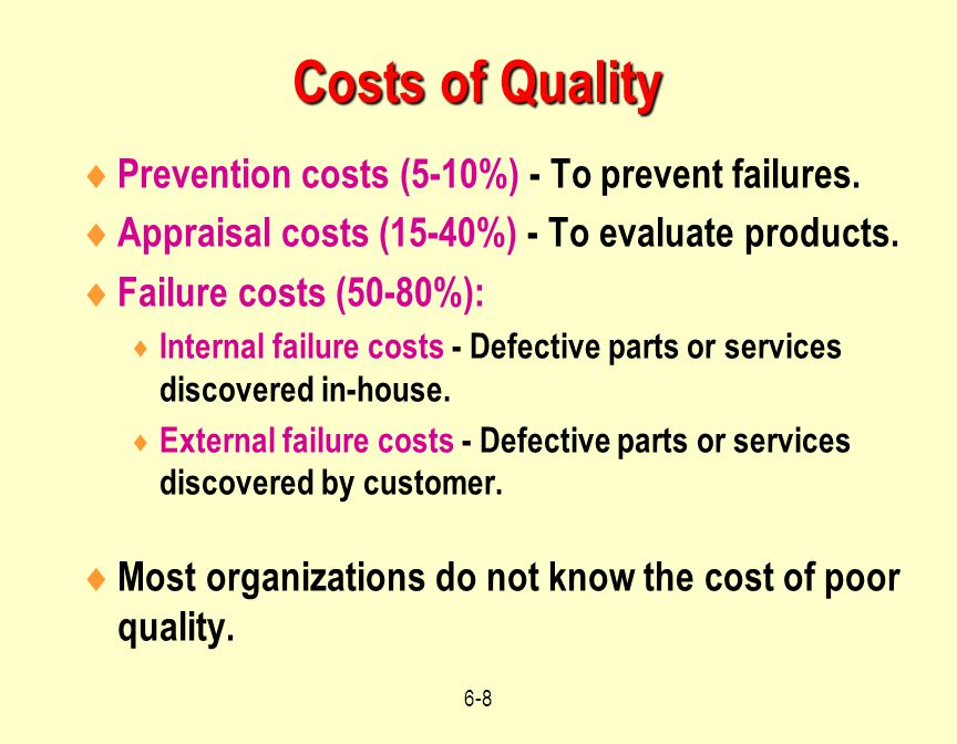 costs of process failures Just like it sounds, an internal failure cost takes place internally,  on these costs,  as they take place during the production process and are.