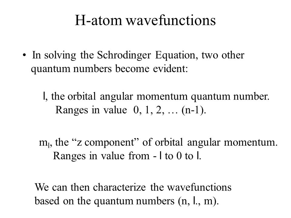H-atom wavefunctions • In solving the Schrodinger Equation, two other