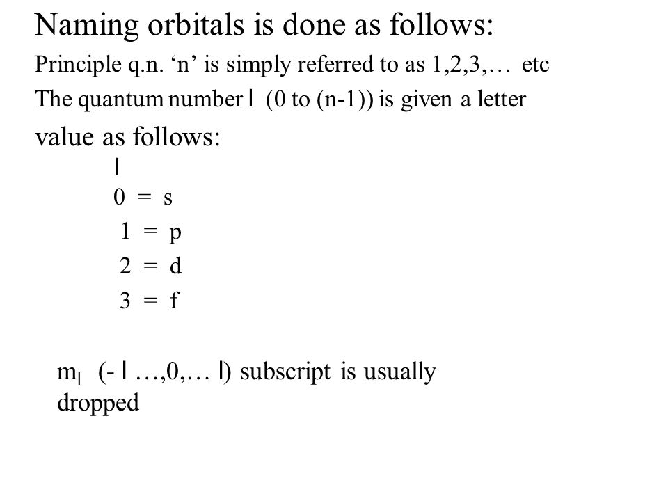 Naming orbitals is done as follows: