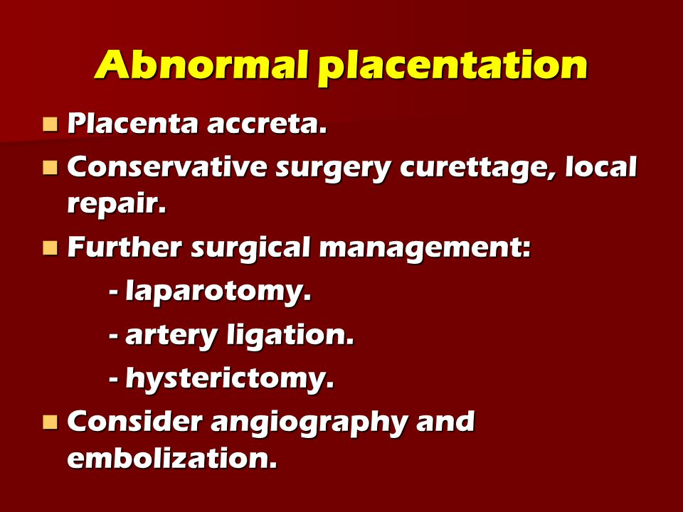 Abnormal placentation