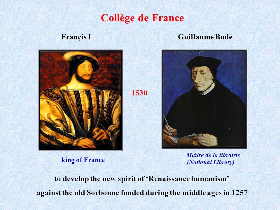 Collège de France Françis I Guillaume Budé 1530