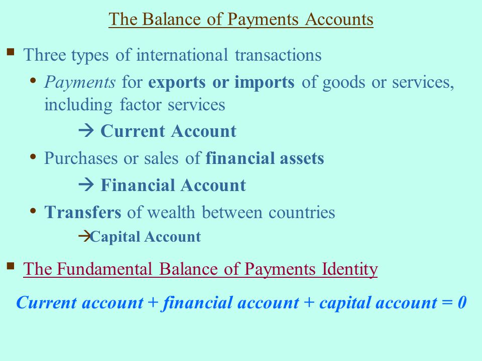 The Balance of Payments Accounts