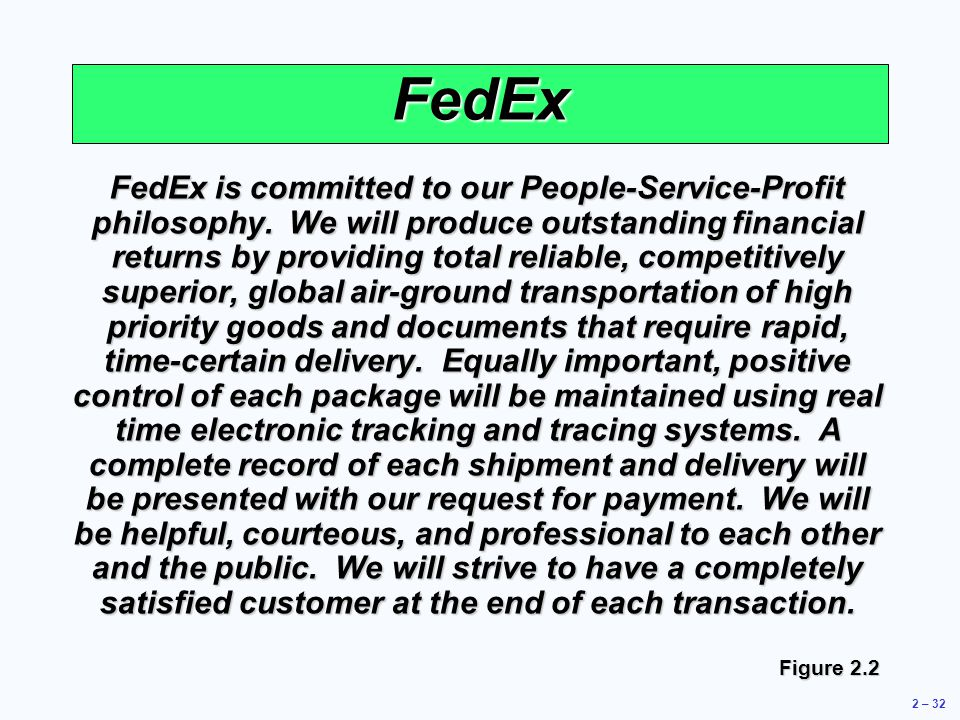 operations management at fedex Fedex corporation: strategic management 772 words | 3 pages the first company is fedex this company's competitive advantages include its brand, its route network, its physical assets, its corporate culture and first mover advantages in overnight courier that it still enjoys.