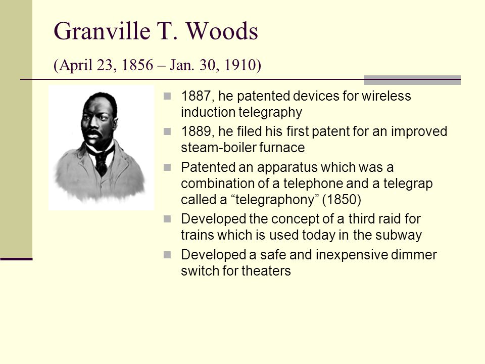 inventor granville t woods This video is an account of the inventor, granville t woods denzel, the actor,  has researched this inventor as part of the air element of the.