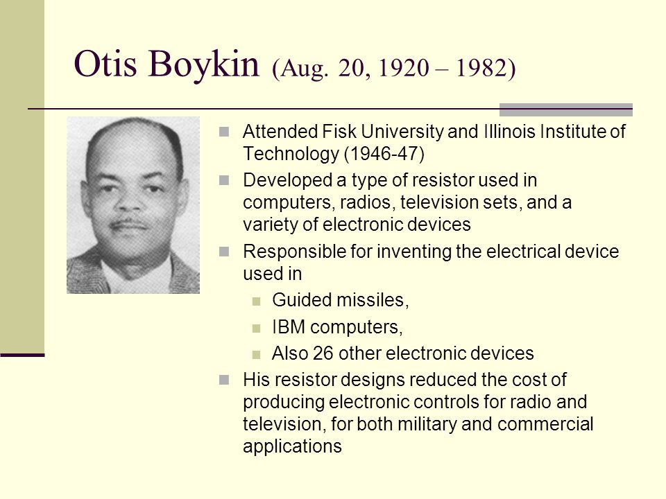 otis boykin His mother was a housewife named sarah cox, and his father was a carpenter named walter benjamin boykin, and his wife was a housewife named pearlie mae kimble.