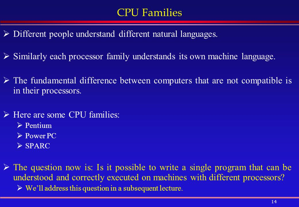 CPU Families Different people understand different natural languages.