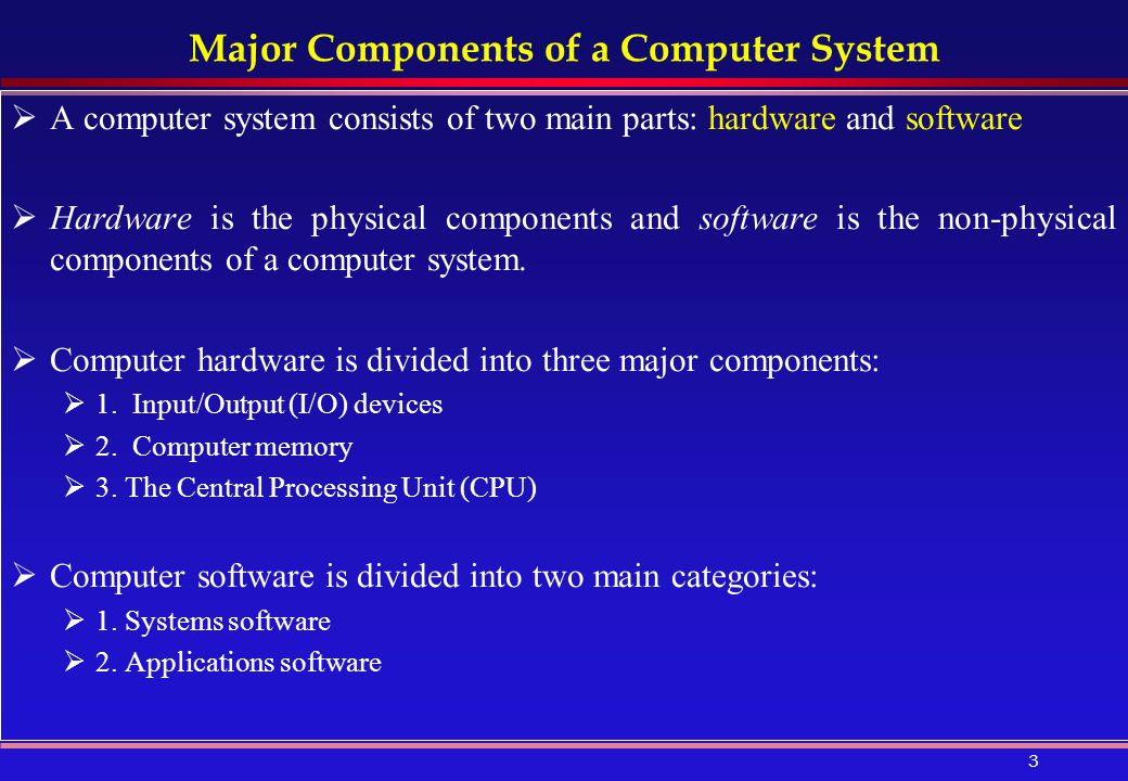 Major Components of a Computer System