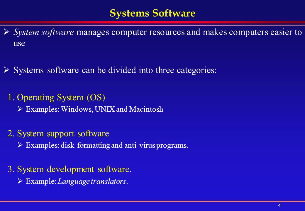 Systems Software System software manages computer resources and makes computers easier to use.
