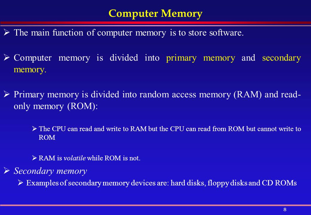 Computer Memory The main function of computer memory is to store software. Computer memory is divided into primary memory and secondary memory.