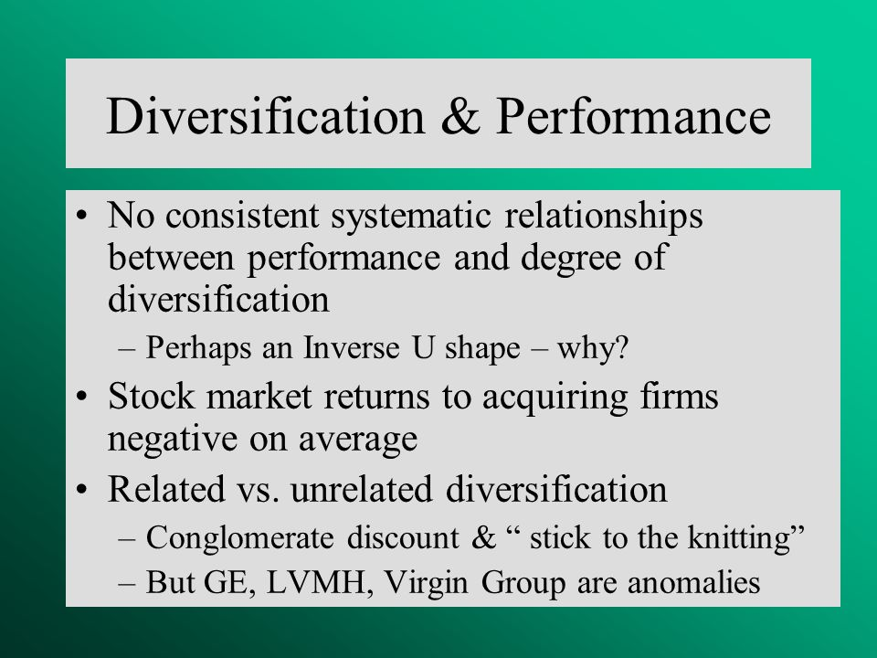 Related and unrelated diversification