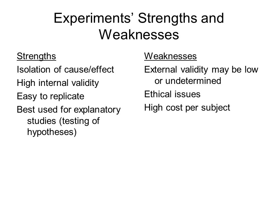 Experiments' Strengths and Weaknesses