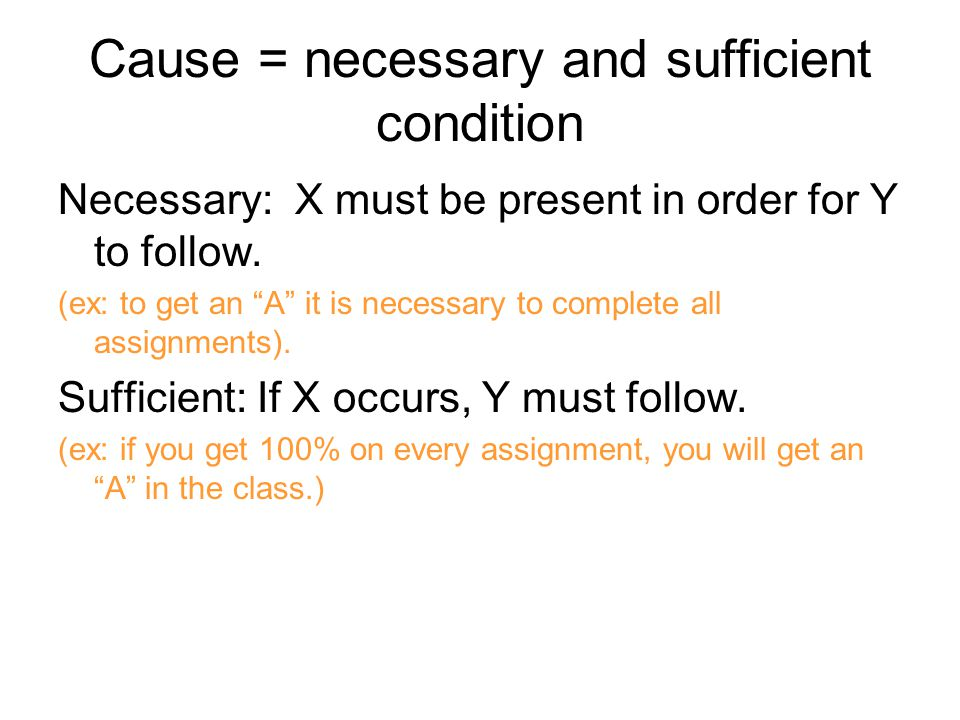 Cause = necessary and sufficient condition