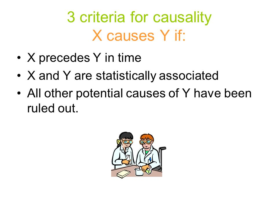 3 criteria for causality X causes Y if: