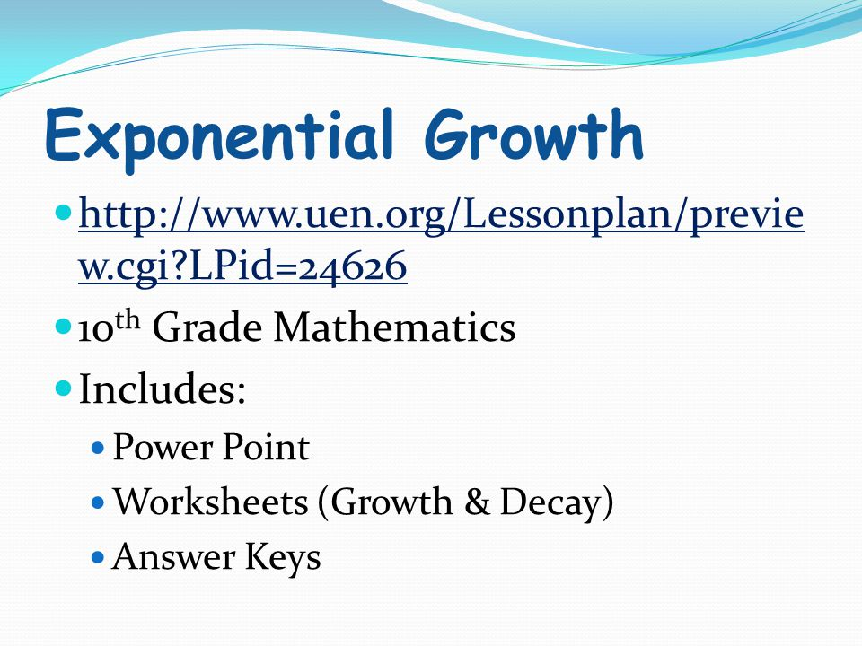 Exponential growth worksheet key
