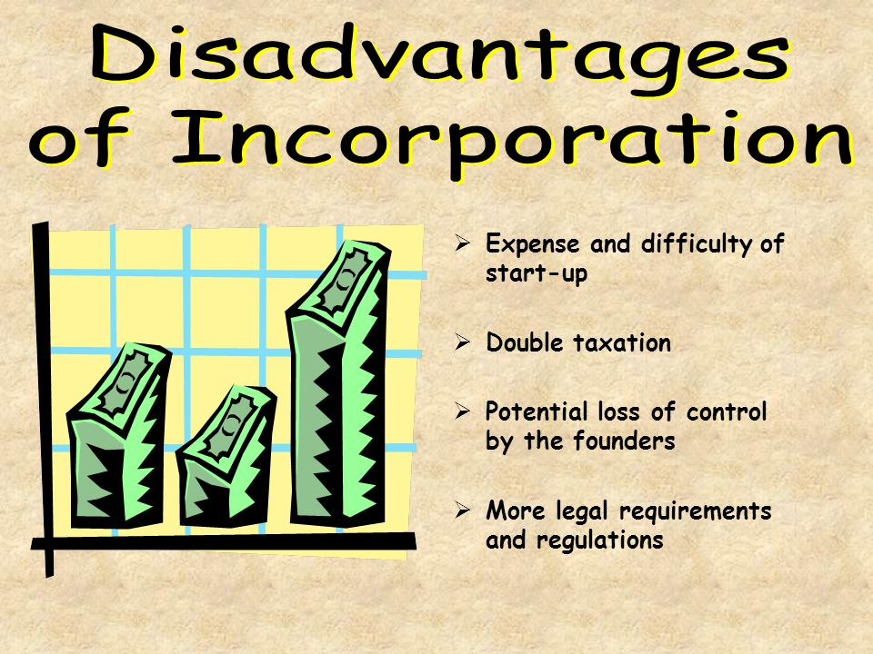Disadvantages of Incorporation Expense and difficulty of start-up