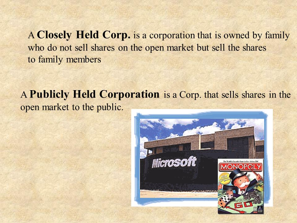 A Closely Held Corp. is a corporation that is owned by family