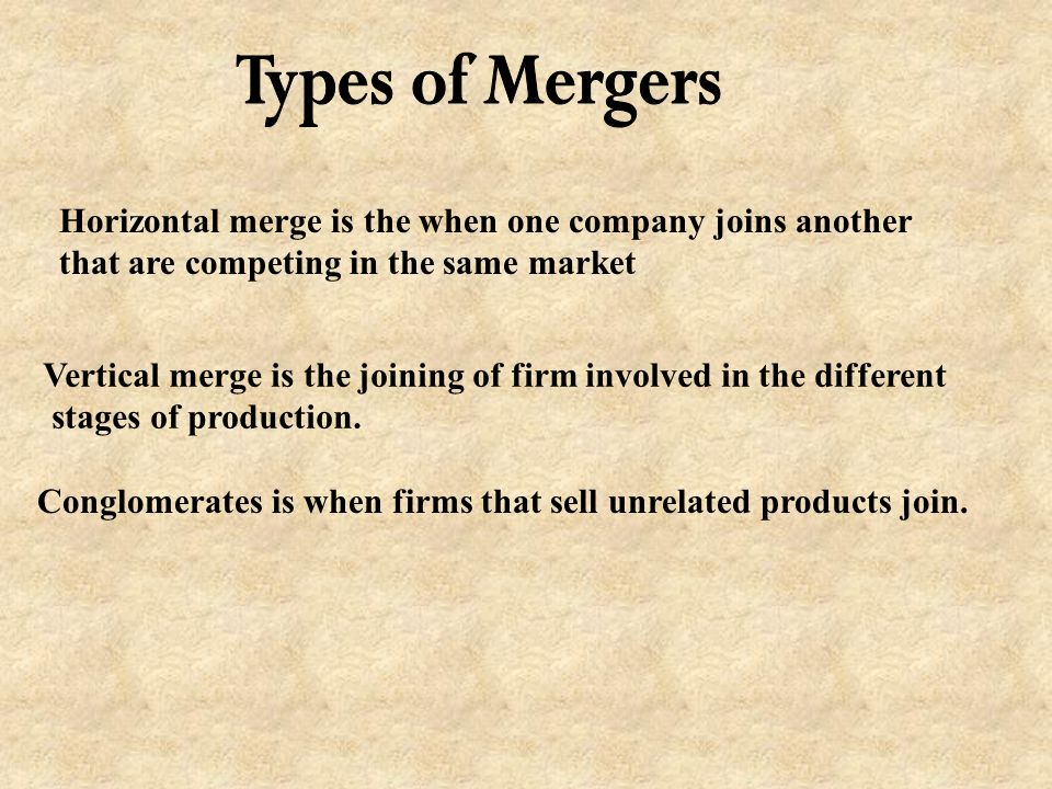 Types of Mergers Horizontal merge is the when one company joins another. that are competing in the same market.
