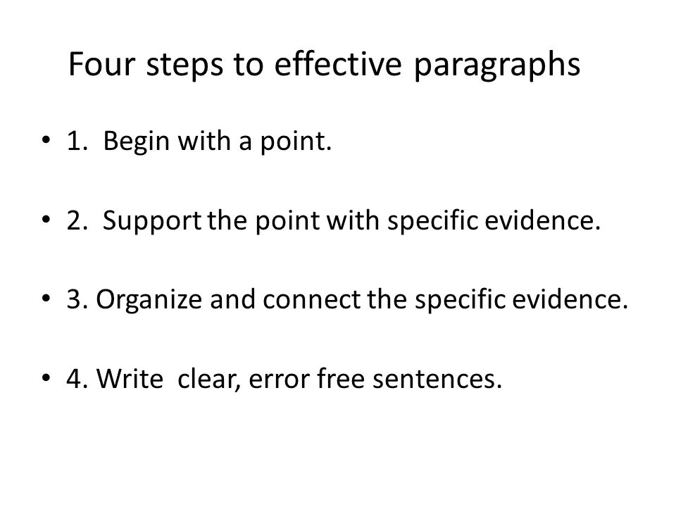 writing effective paragraphs Writing center writing effective paragraphs characteristics of an effective paragraph • direction: a strong topic sentence that states the main idea and sets the course of the.