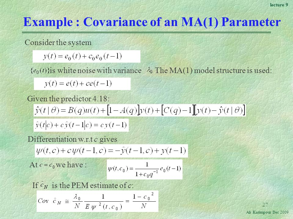 Example : Covariance of an MA(1) Parameter