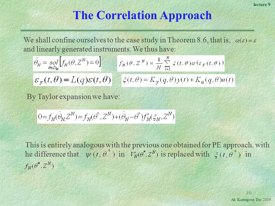 The Correlation Approach