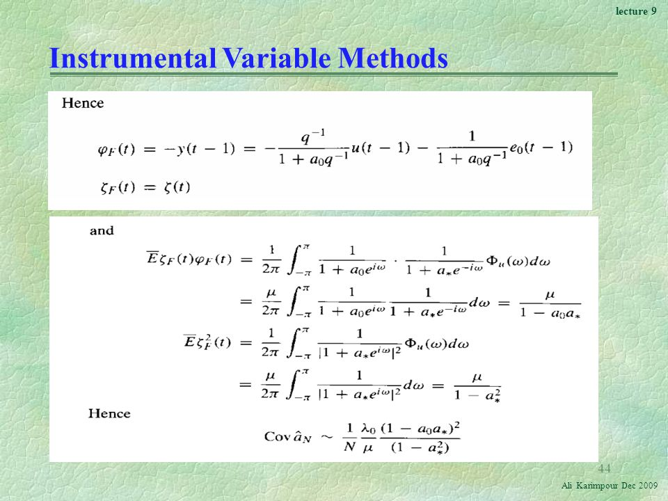 Instrumental Variable Methods