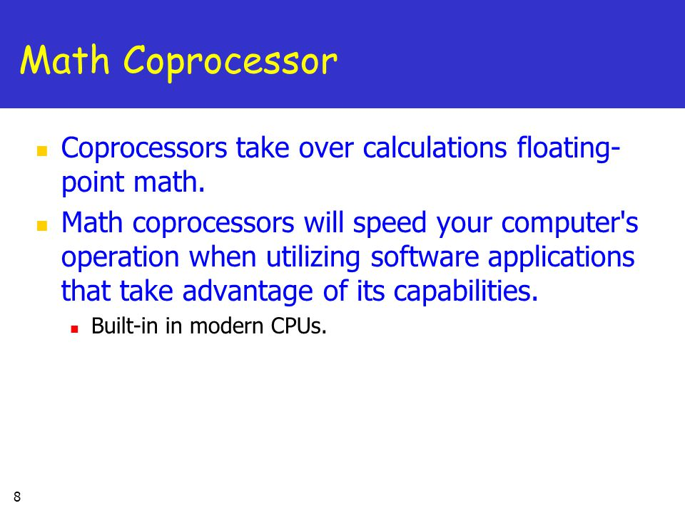 an introduction to the floating point coprocessors Introduction the new um-fpu v31 floating point coprocessor has the speed and features required to support today's advanced microcontroller applicationsthe um-fpu v31 chip easily interfaces to virtually any microcontroller using an spi™ or i2c™ interface.