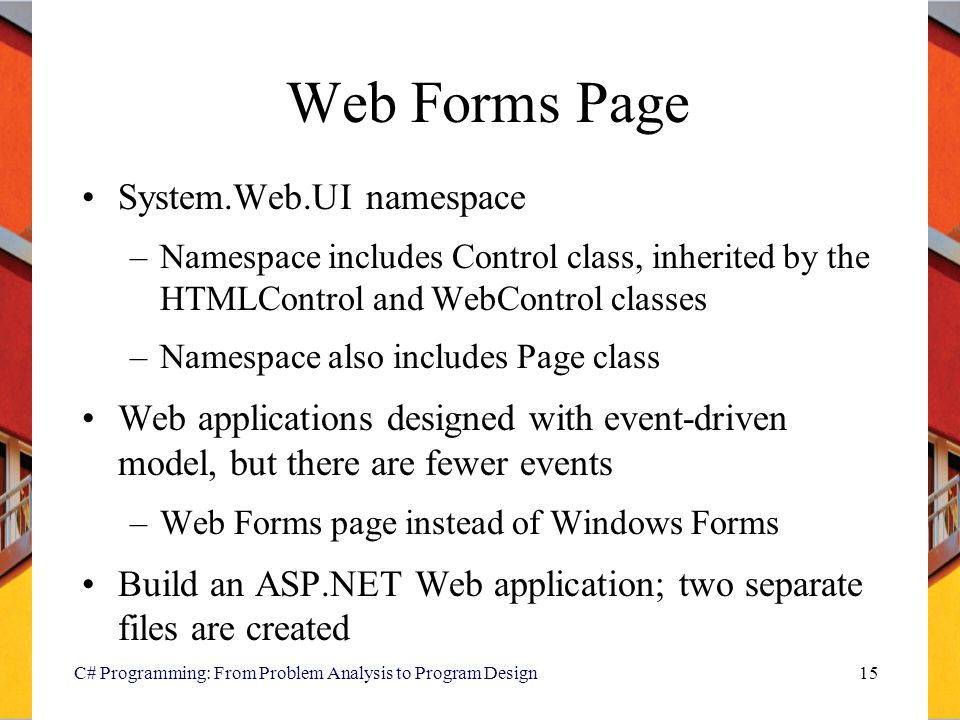 Web Forms Page System.Web.UI namespace