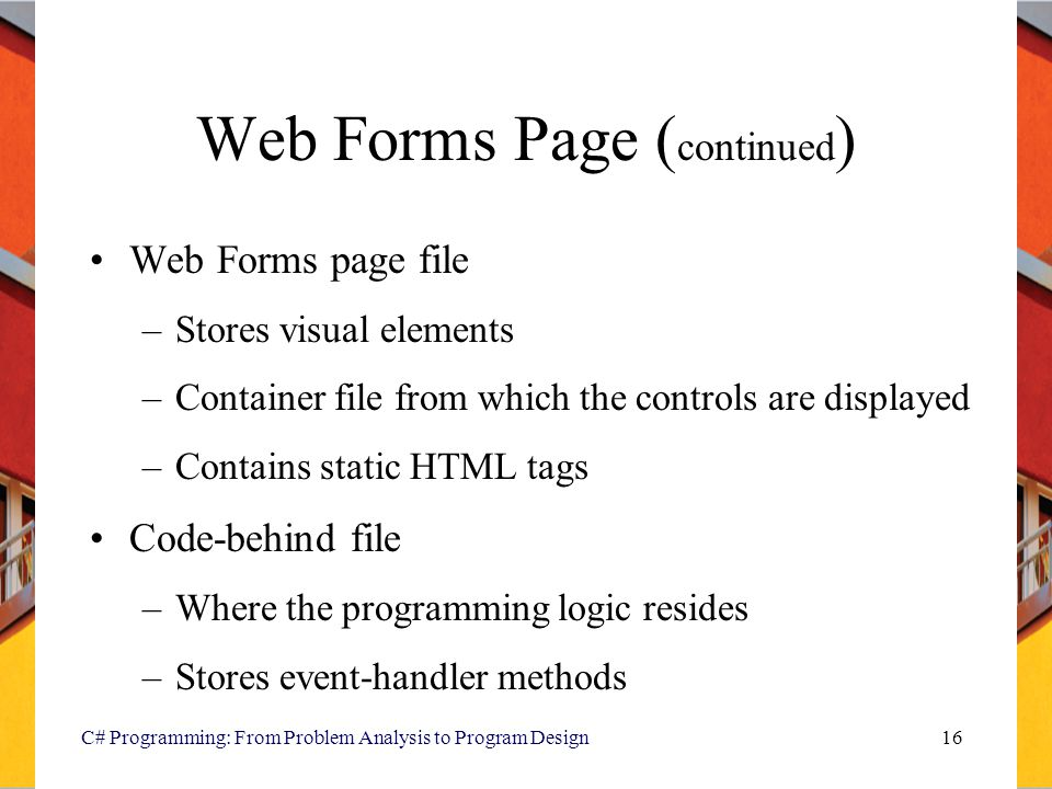 Web Forms Page (continued)