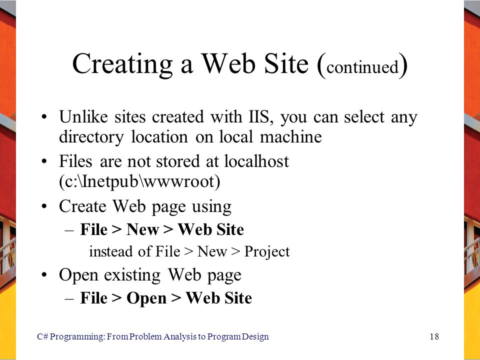 Creating a Web Site (continued)