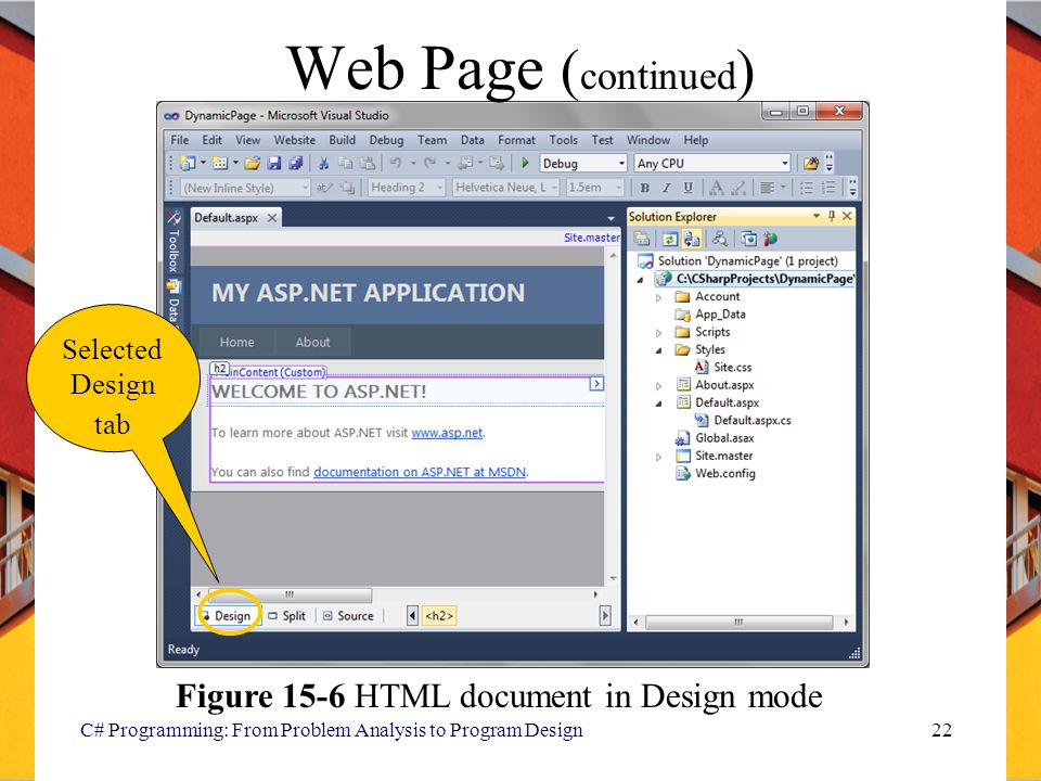 Web Page (continued) Figure 15-6 HTML document in Design mode