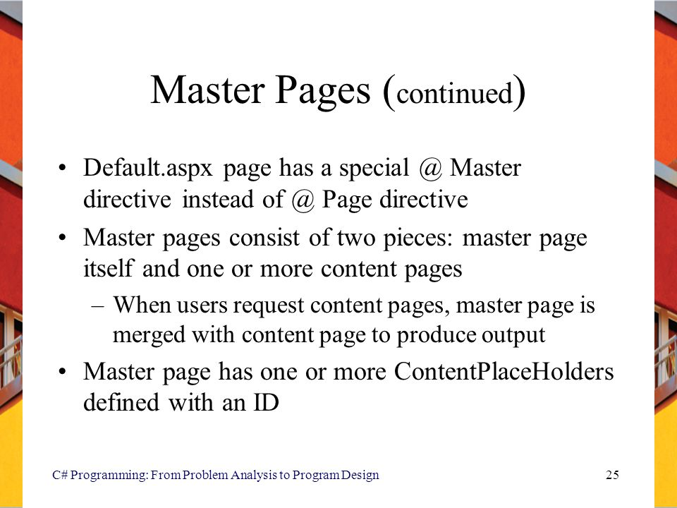 Master Pages (continued)