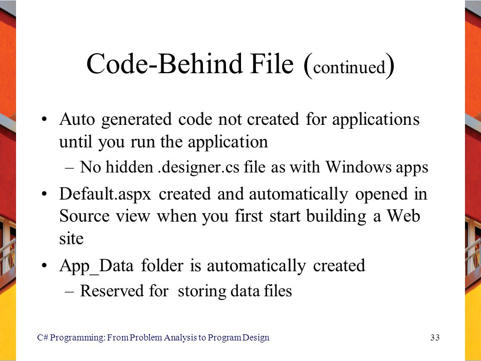 Code-Behind File (continued)