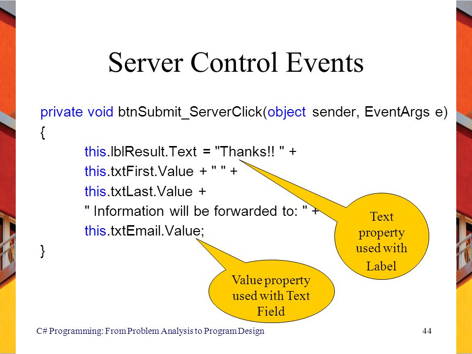 Server Control Events private void btnSubmit_ServerClick(object sender, EventArgs e) { this.lblResult.Text = Thanks!! +