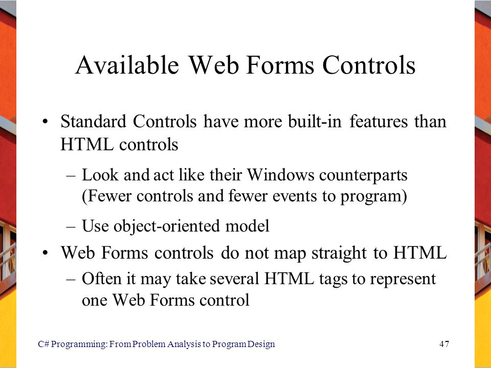 Available Web Forms Controls