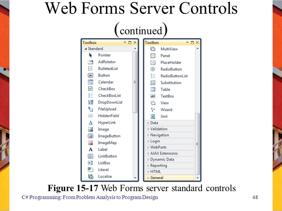 Web Forms Server Controls (continued)