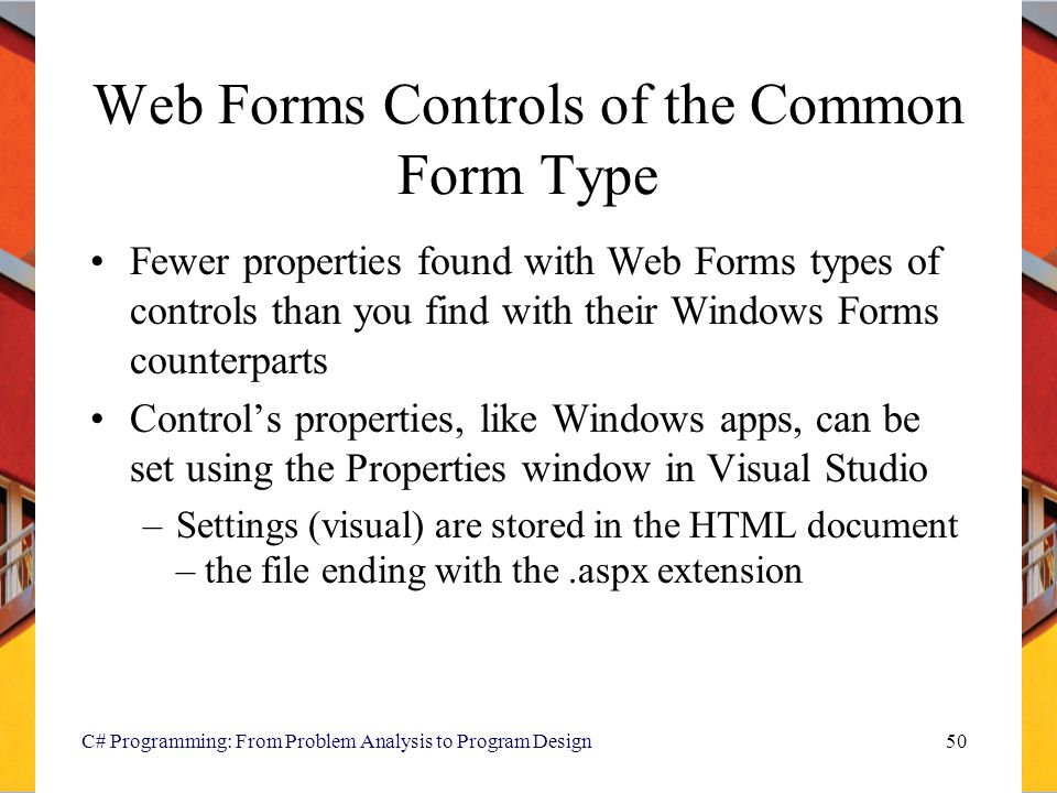 Web Forms Controls of the Common Form Type