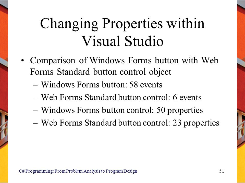 Changing Properties within Visual Studio