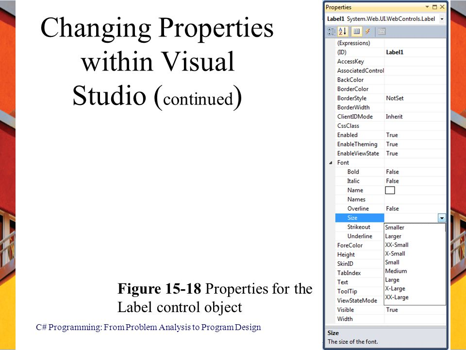 Changing Properties within Visual Studio (continued)