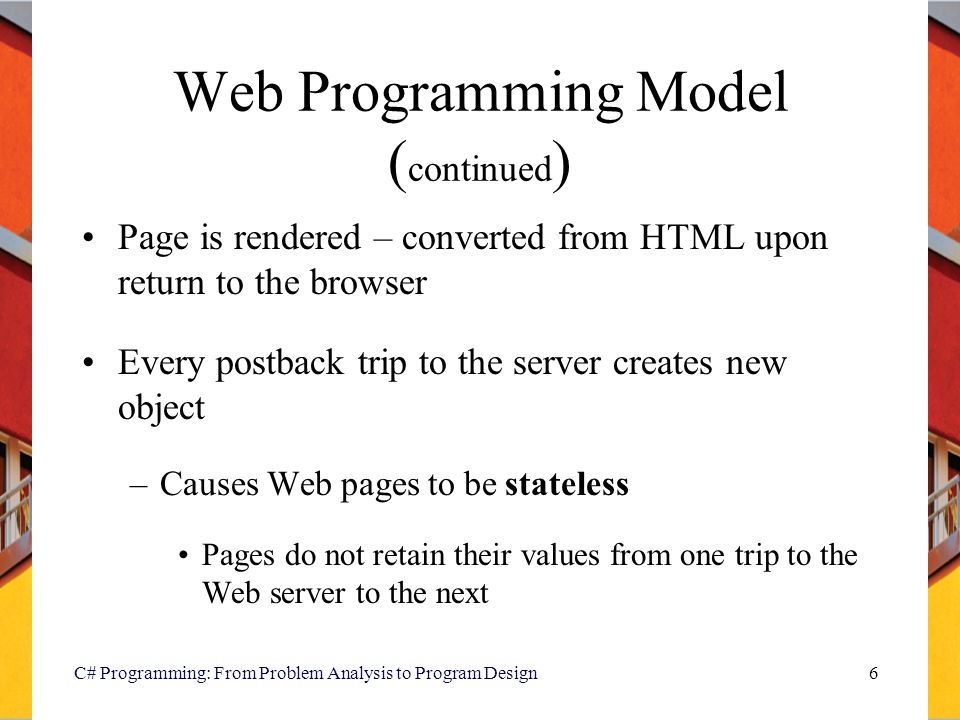 Web Programming Model (continued)