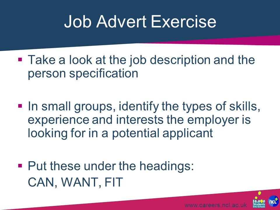 Job Advert Exercise Take a look at the job description and the person specification.