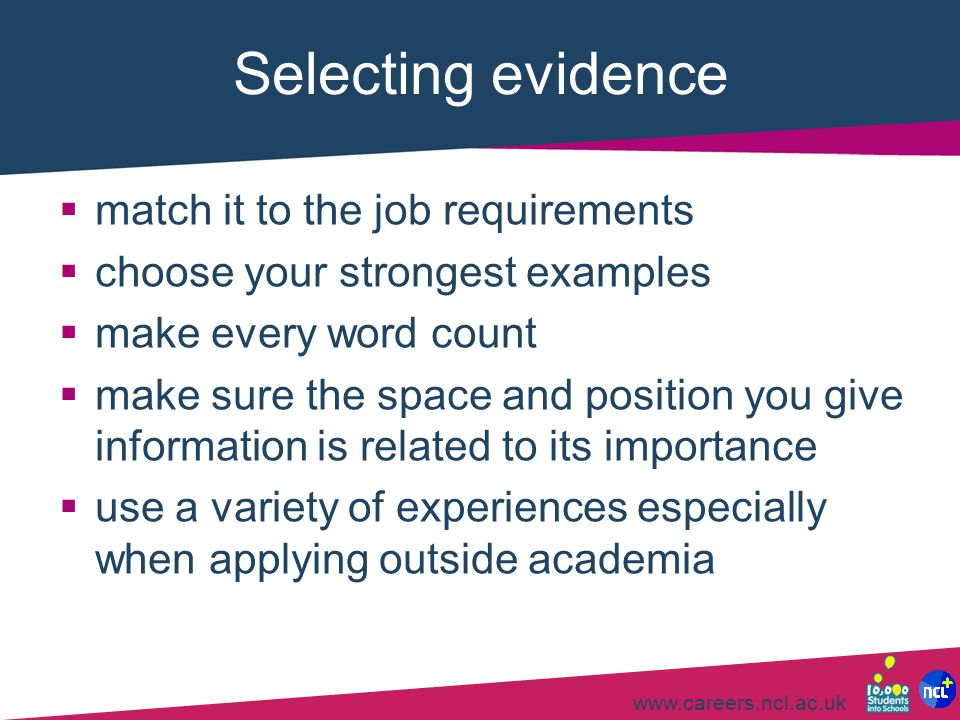 Selecting evidence match it to the job requirements