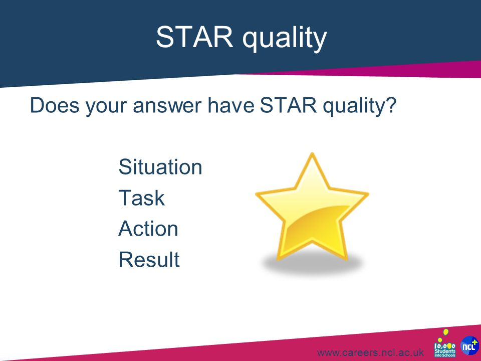STAR quality Does your answer have STAR quality Situation Task Action