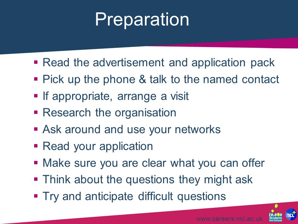 Preparation Read the advertisement and application pack