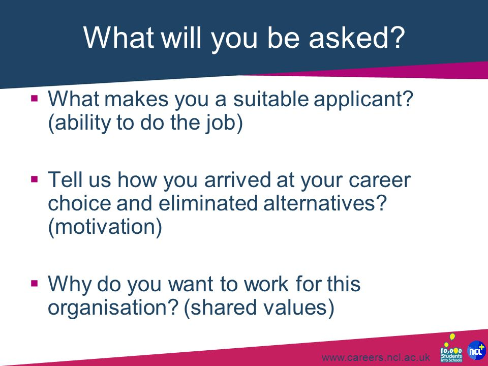 What will you be asked What makes you a suitable applicant (ability to do the job)
