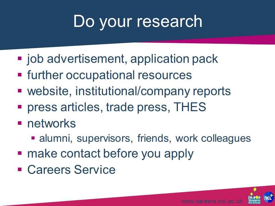 Do your research job advertisement, application pack