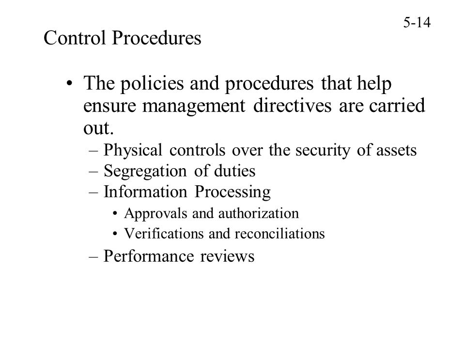 Physical control checks and internal control